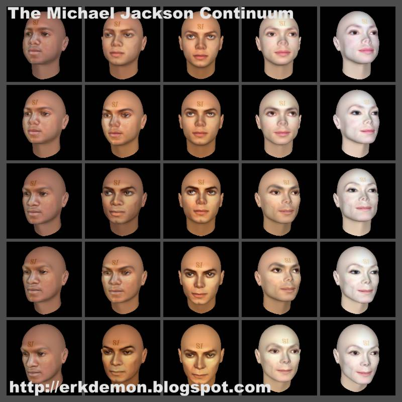 Grid of interpolated 3D heads of Michael Jackson, FaceGen
